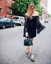 dress,tumblr,mini dress,bell sleeves,bell sleeve dress,off the shoulder,off the shoulder dress,sandals,sandal heels,high heel sandals,bag,black bag,all black everything,shoes