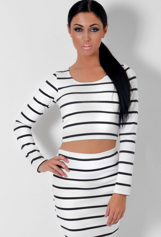 Hattie White and Black Stripe Print Crop Top | Pink Boutique