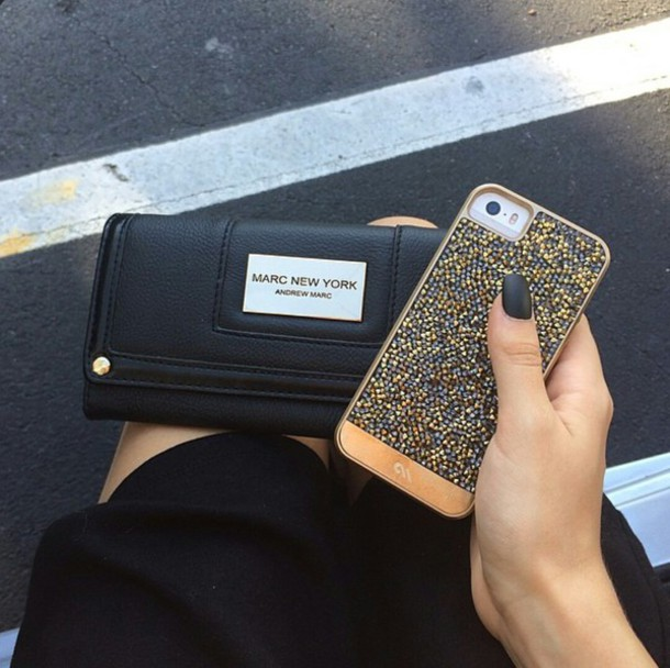 iphone cover gold wallet black skirt