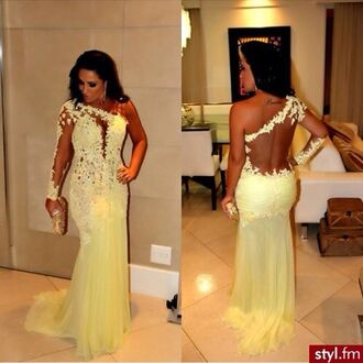 dress cream prom yellow yellow dress off-white one shoulder dress mermaid lace evening dresses long sleeve dress prom dress maxi white lace formal tulle dress sexy party fashion style trendy beautiful gorgeous dressofgirl girl girly girly wishlist