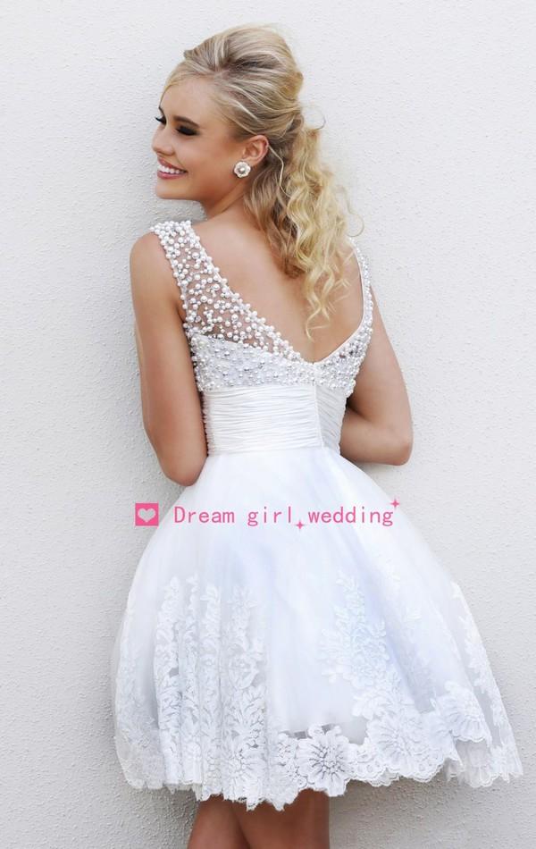 skirt white dress short party dresses short prom dress lace dress beaded short dresses v back dress