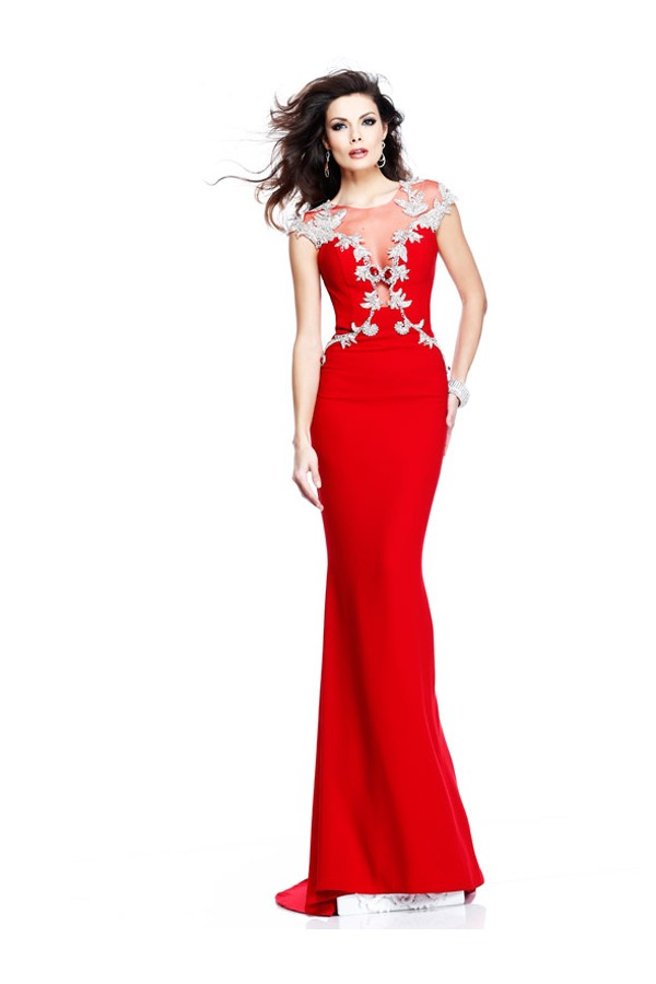 Scoop Sleeveless Sheath/Column Satin Red Long Evening Gowns With Beaded