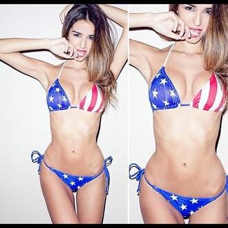 swimwear american flag two-piece sexy cute
