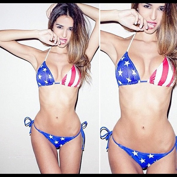 swimwear american flag two-piece sexy cute