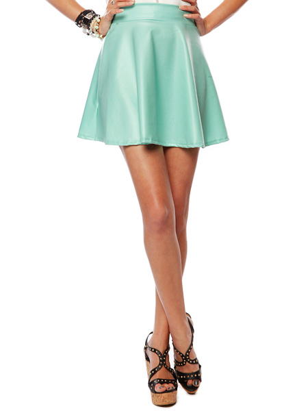 Papaya clothing online :: leatherette flare skirt