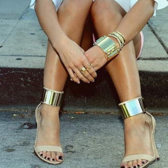 shoes beige shoes high heels opentoed gold gold ankle strap