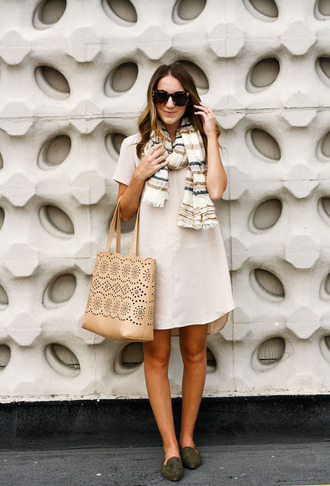 twenties girl style blogger dress scarf shoes sunglasses bag jacket loafers tote bag