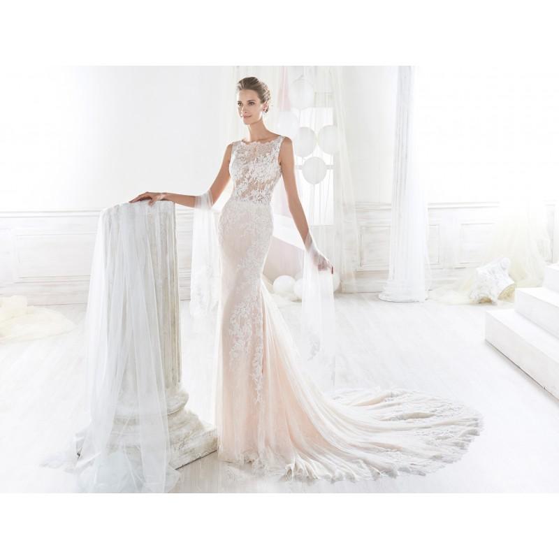 Nicole 2018 NIAB18001 Sleeveless Lace Blush Covered Button Chapel Train Appliques Bateau Fit & Flare Elegant Wedding Dress - Truer Bride - Find your dreamy wedding dress