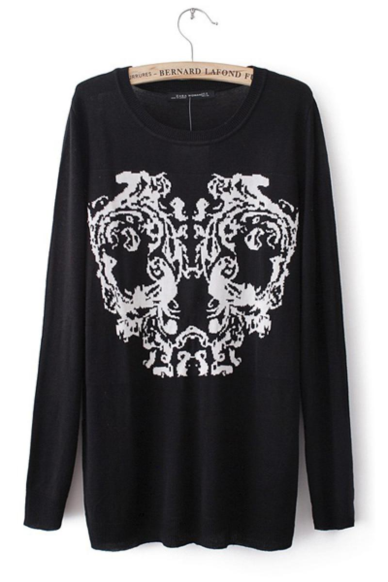Skull Printed Pullover Knitted Sweater,Cheap in Wendybox.com