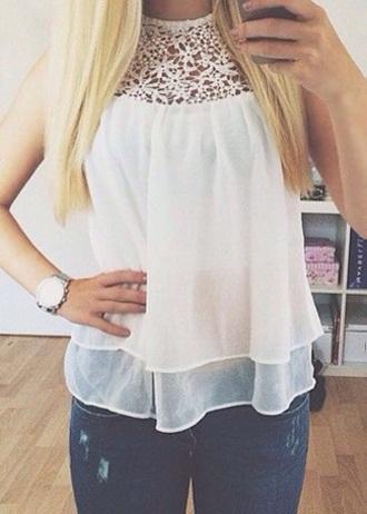 blouse shirt top white lace