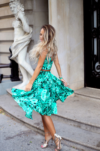 dress skirt top tourquise floral dress summer dress summer skirt summer clothing flowy dress