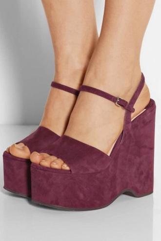 shoes burgundy suede wedges platform sandals ankle strap
