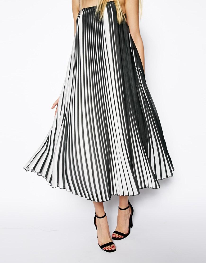 ASOS Swing Dress In Pleated Stripe at asos.com