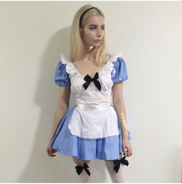 dress alice in wonderland joanna kuchta blue halloween halloween costume autumn/winter