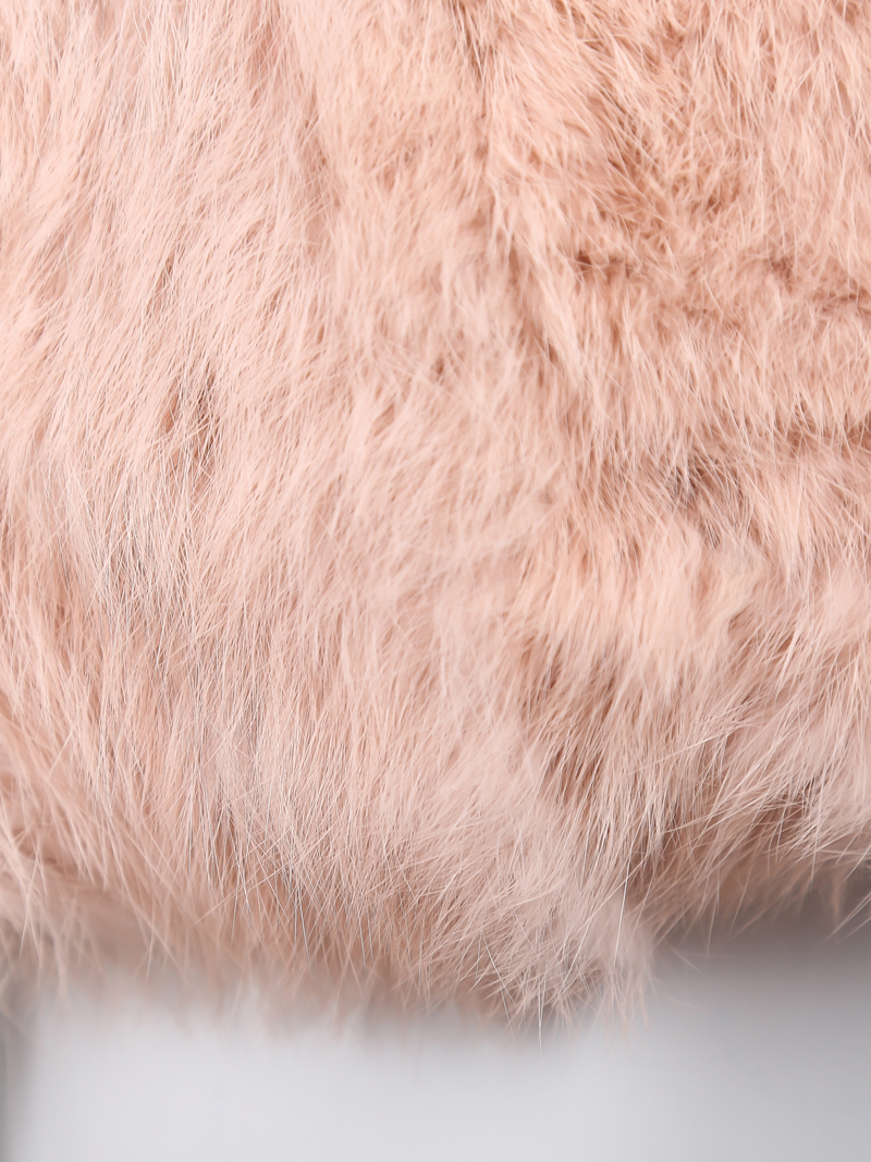 Pink Round Neck Faux Fur Long Coat - Sheinside.com
