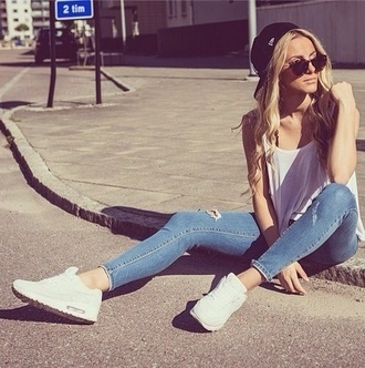 jeans blue blue skinny jeans shoes nike hat love more love dress rippedjeans.  lightcolor white top air max blouse shirt