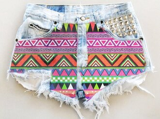 shorts hot button ripped aztec hot pants jeans denim vintage hipster rivets light blue ripped shorts aztec shorts tribal/ aztec pattern nike free runs