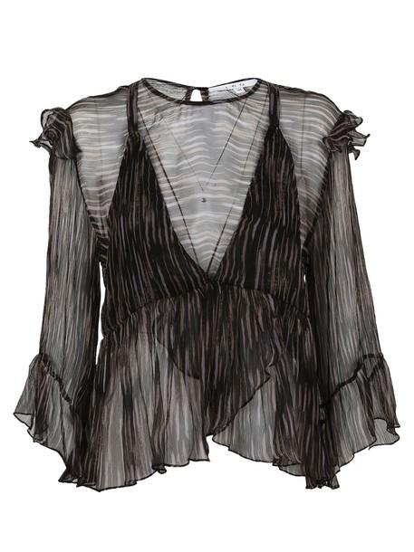 blouse layered print black pink top