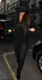 jacket,leather jacket,victoria beckham,boots,hat,shoes
