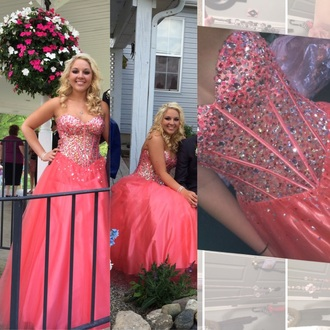 dress prom dress prom gown ball gown pink dress pink prom dress coral dress