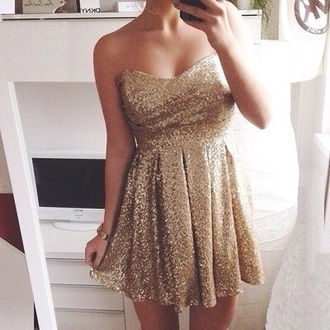 dress sparkly dress prom dress prom gown prom dresses /graduation dress .party dress new year's eve new york city style gold gold sequins strapless dresses