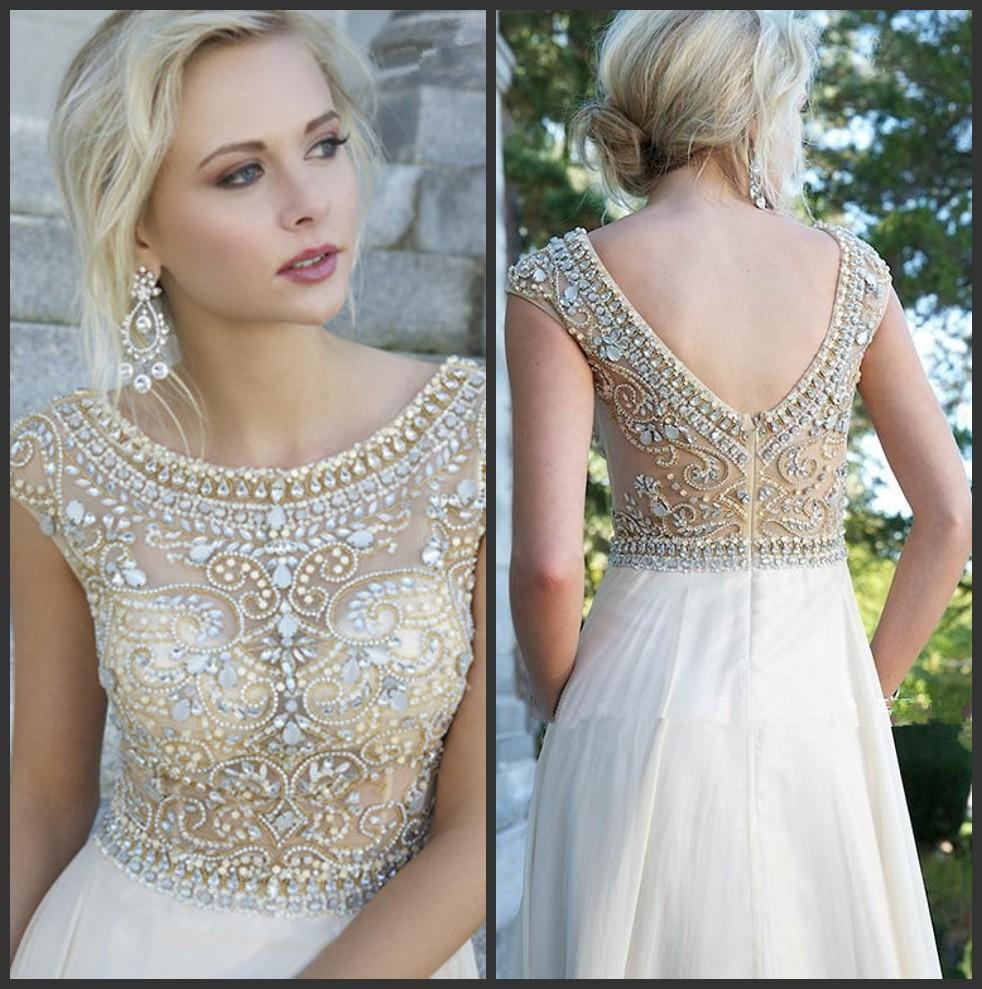 Cheap Crystal Evening - Discount Cap Sleeves Chiffon Prom Dresses Beaded Rhinestones Top Online with $129.06/Piece | DHgate