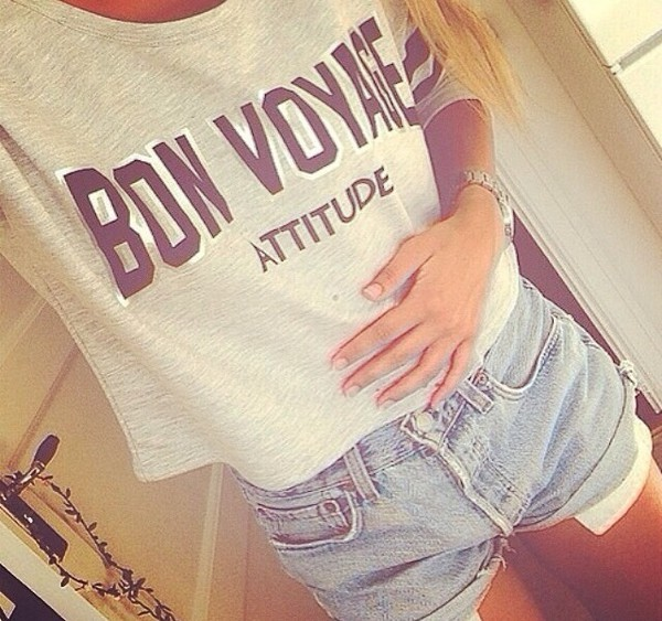 top attitude bon voyage varsity grey red cute shorts