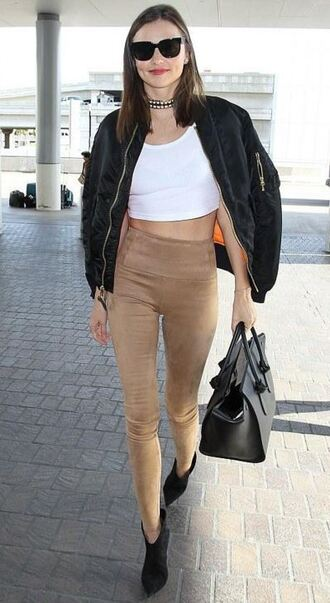 leggings pants suede miranda kerr fall outfits crop tops jacket shoes suede leggings