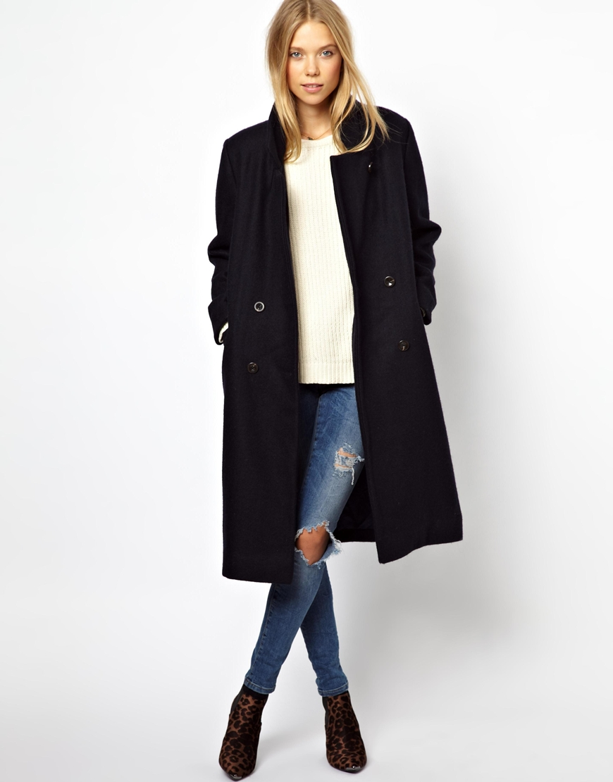 Ganni Military Long Classic Coat at asos.com