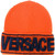 Versace - Logo manifesto beanie - women - Polyamide/Viscose/Virgin Wool - One Size, Yellow/Orange, Polyamide/Viscose/Virgin Wool