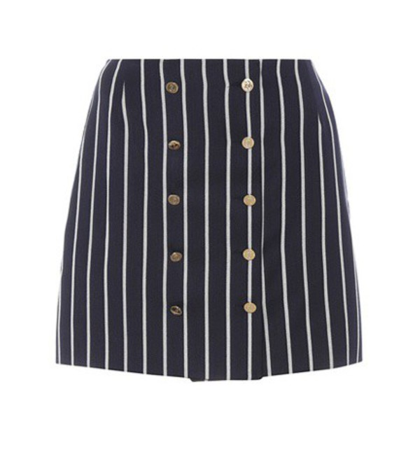 Thom Browne Striped wool and cotton miniskirt in blue