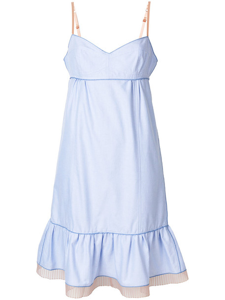dress ruffle women cotton blue silk