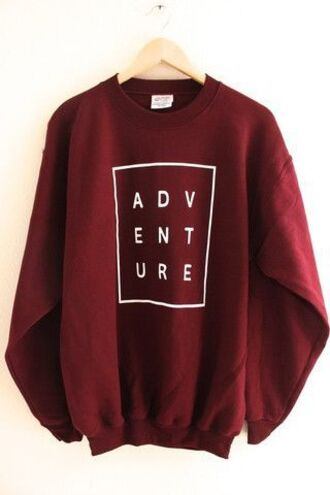 sweater adventure burgundy sweatshirt long sleeves fall outfits crewneck sweatshirt crewneck graphic sweatshirt