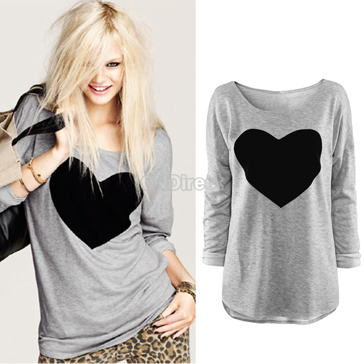 Women's Heart Pattern T-Shirt Long Sleeve Crew Neck Tops T-Shirt