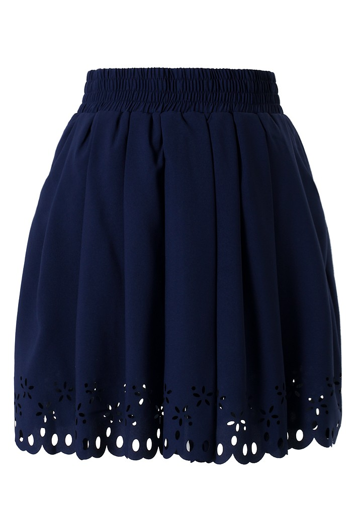 navy blue pleated skater skirt with cut out detail retro