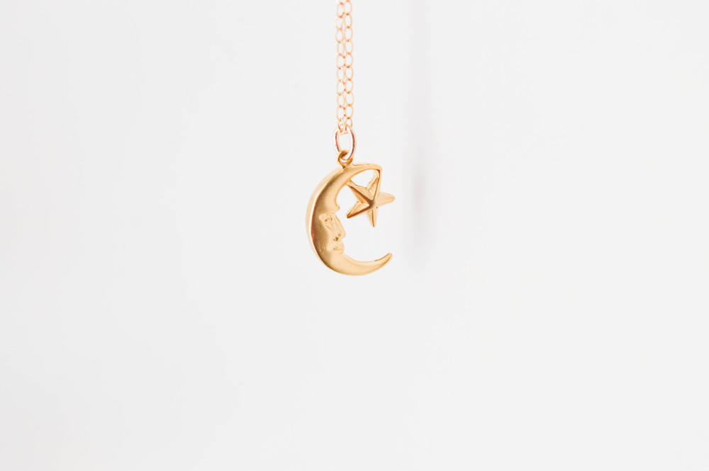 Calijoules — 18k vermeil gold crescent moon star charm necklace