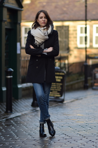 shot from the street blogger jeans scarf shoes casual