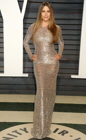 dress,bodycon,bodycon dress,sofia vergara,Oscars 2017,maxi dress,silver dress,oscars