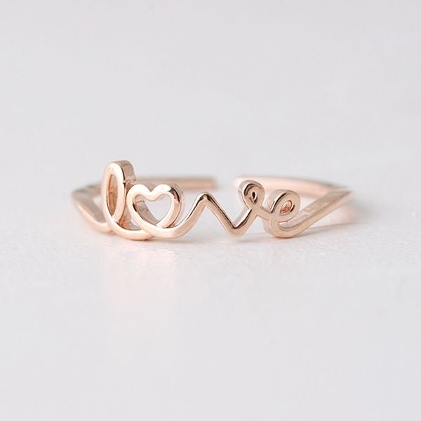 Rose Gold Love Script Ring Wrap Love Ring love Jewelry | eBay
