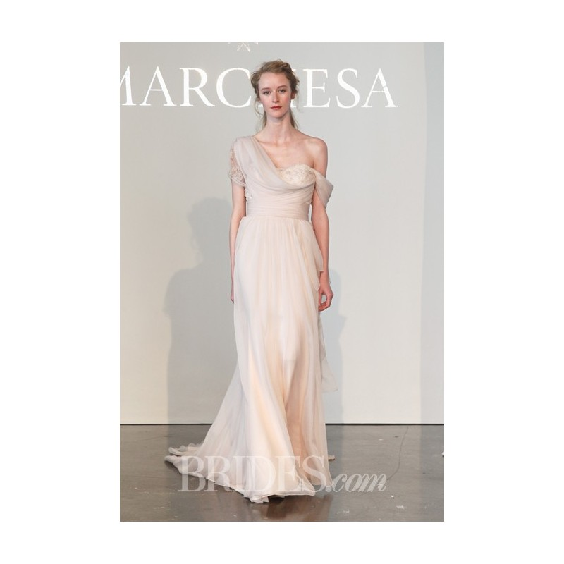 Marchesa spring 2015 one shoulder blush silk chiffon a for Marchesa wedding dress sale