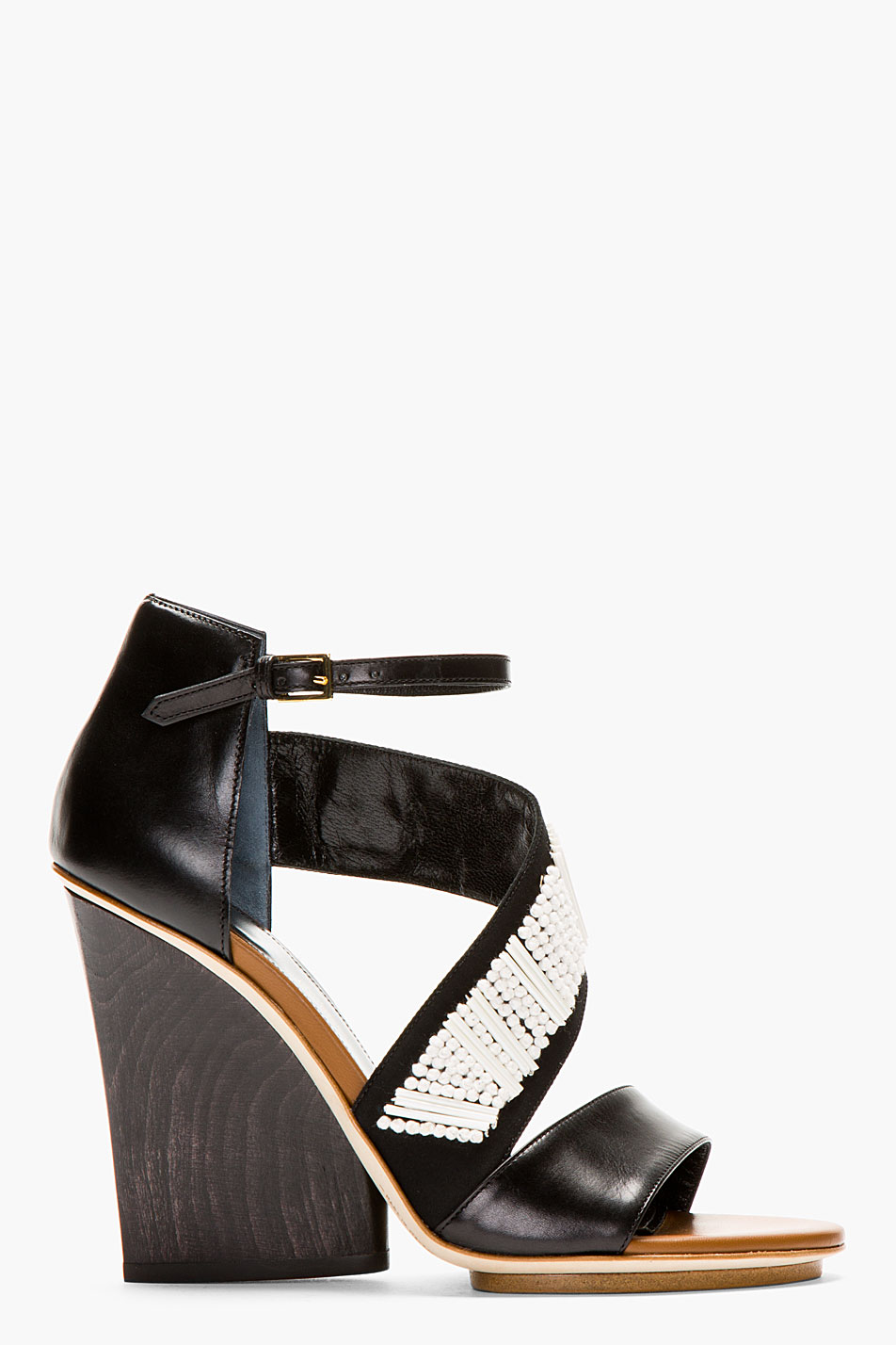 Maiyet black beaded and embroidered wedge sandals