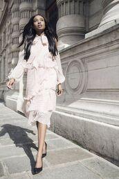 dress,tumblr,white dress,midi dress,romantic,romantic dress,long sleeves,long sleeve dress,ruffle,ruffle dress,pumps,pointed toe pumps,high heel pumps,pointed toe