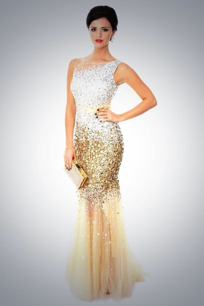 dress, prom dress, gold, gold prom dress, sequins, mermaid prom ...