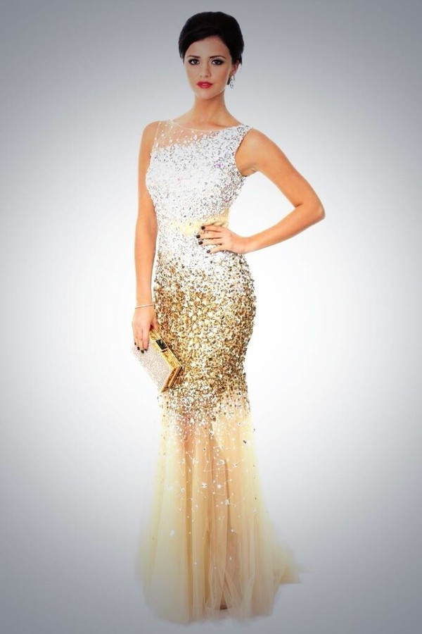 Dress: prom dress, gold, gold prom dress, sequins, mermaid prom ...