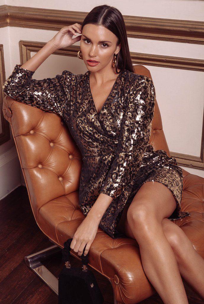 Selene Leopard Sequin Dress