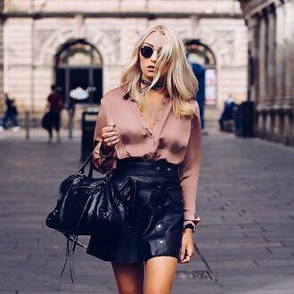 shirt tumblr pink shirt silk mini skirt black skirt black leather skirt leather skirt bag balenciaga black bag sunglasses rayban dusty pink button up skirt outfit idea