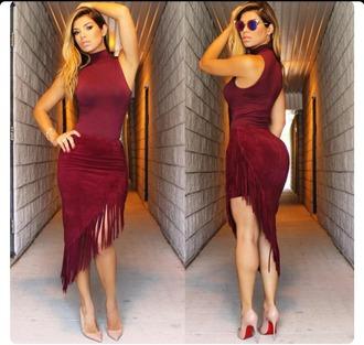 dress wine colored dress fringed dress