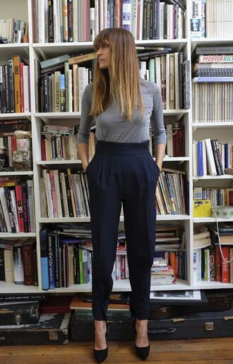 pants caroline de maigret fashionista model blue pants high waisted pants office outfits top grey top long sleeves platform pumps pumps black pumps fall outfits