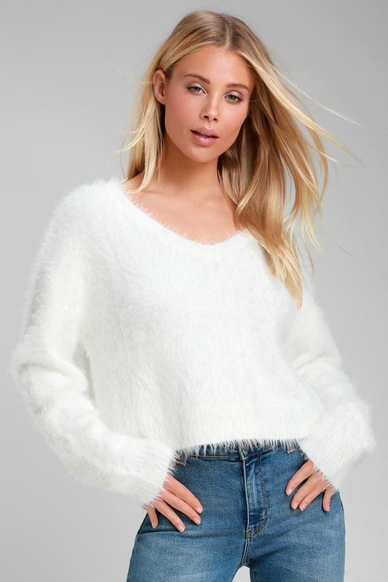 Daily Snuggle White Eyelash Knit Sweater