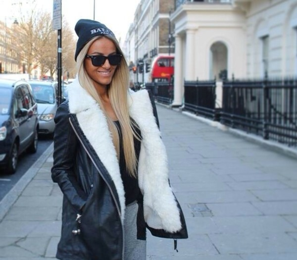 jacket wool fur faux fur jacket biker jacket white fashion winter outfits winter jacket